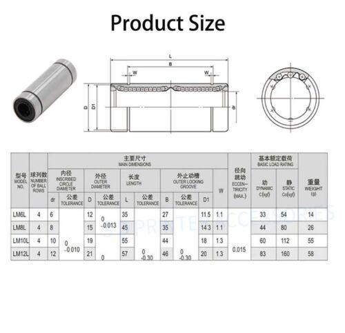 LM6LUU LM8LUU LM10LUU LM12LUU Long Linear Ball Bearing Bushing 3D Printer CNC