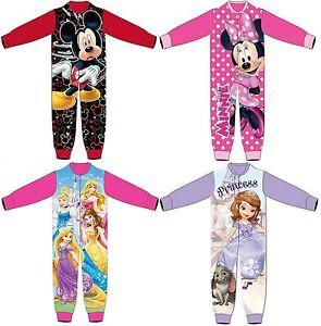 370393f645a3 Kids Boys Girls Fleece Character All In One Pyjama Childrens Pjs Size ...