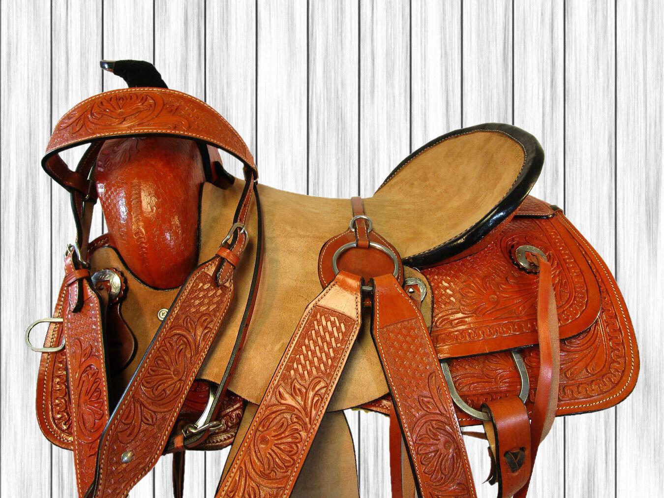 Usado 15 16 17 amarrar Roper Rancho trabajo Trail  Rodeo Caballo Fileteado Silla De Montar Western  muchas sorpresas