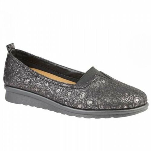 Boulevard THELMA Ladies Womens Extra Wide Slip On Casual Dress Shoes Black EEE