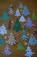 Mixed Lot 50 Christmas Tree Cut Outs. Various Colours/Patterns/Sizes. Paper/Card