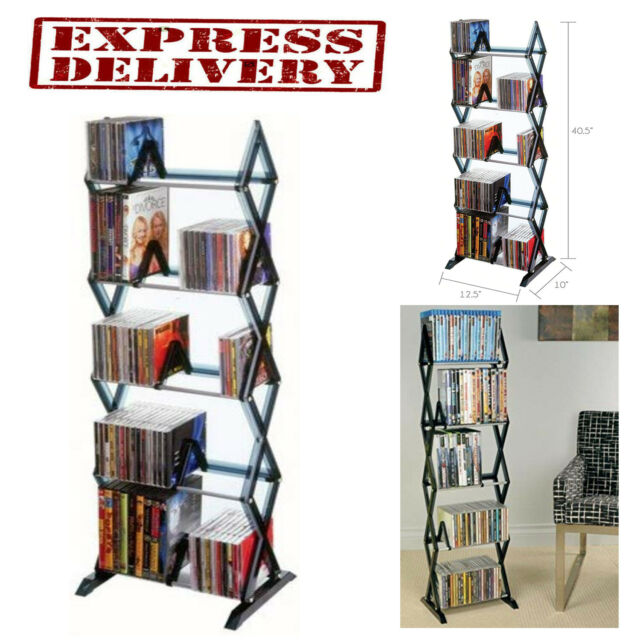 Media Storage Rack Dvd Cd Shelf Organizer Multimedia Shelves Holder Stand 5 Tier For Sale Online Ebay
