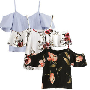 Women-Summer-Autumn-Casual-Off-Shoulder-Chiffon-Printed-Blouse-Cold-Shoulder-Top
