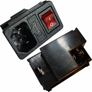 IEC-C14-Switched-amp-Fuse-Power-Socket-10A-Snap-on-Panel-Chassis-Mount-Connector