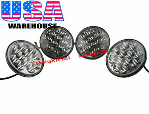 "5-3/4"" LED CREE LIGHT BULBS CRYSTAL CLEAR SEALED BEAM HEADLAMP HEADLIGHT 2 PAIRS"