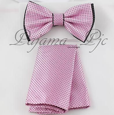 Checker Two Tone Design Men Bowtie or With Hankie Set Pink / Black Dot BT2T101-L