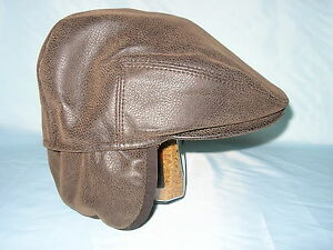 1a3d1366ff4 GENTS BROWN FAUX LEATHER FLAT CAP EAR FLAPS FISHING HIKING DOG ...