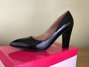 4f96e67d3fd Image is loading Ladies-Black-Patent-Block-High-Heel-Pointed-Toe-