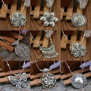 New-Vintage-Women-Tibetan-Silver-Turquoise-Beads-String-Flower-Pendant-Necklace