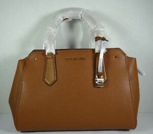 Image is loading Michael-Kors-Hayes-Luggage-Leather-Large-Satchel-Crossbody- b6666b8f002dc