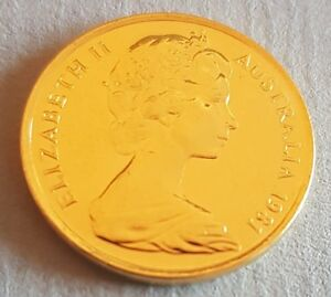 Australia-1981-5-cents-Gold-Plated-Coin-Elizabeth-II-Makes-a-Terrific-Gift