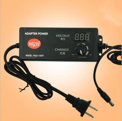 AC//DC Adjustable Power Adapter Supply 4-24V Speed Control Volt Display US plug