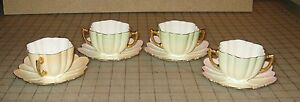 Set-of-4-Double-Handled-Cups-and-Saucers-Green-Pink-Hue-Marked-034-ENGLAND-4808-034