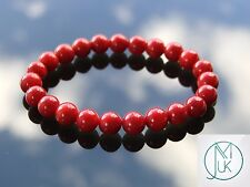 Red Coral Natural Gemstone Bracelet 7-8'' Elasticated Healing Stone Chakra Reiki