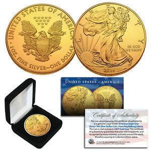 2016-Genuine-1-oz-999-Silver-American-Eagle-U-S-Coin-24KT-Gold-Plated-with-BOX