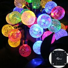 SOLAR Garden LIGHTS STRING FAIRY 30 Multi Colour LED Globe Ball WEATHERPROOF