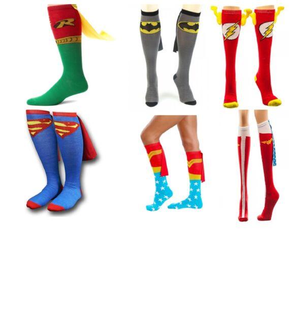 Superhero Knee High Caped Socks (Choose Your Design) Batman Superman Robin