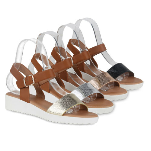 Damen Keilsandaletten Prints Sandaletten Keilabsatz Sommer 823157 Schuhe