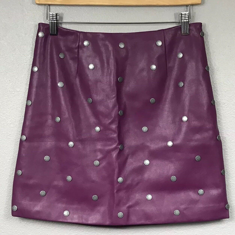 Rebecca Minkoff Fushia lila Studded Faux Leather 100% Silk Mini Skirt 4