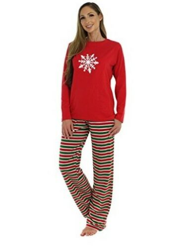 Ladies Christmas Pyjamas Set Snow Women Cotton Xmas Sleepwear Nightwear RRP£30-M