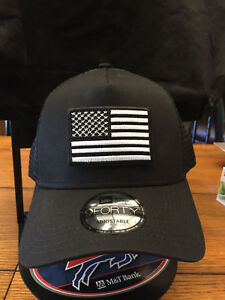 026345ff9fc New Era NE205 BLACK Mesh Snapback Cap w  Black White American Flag ...