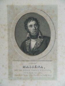 Antik Gravur XIX Porträt André Massena Ménard & Desenne Circa 1824