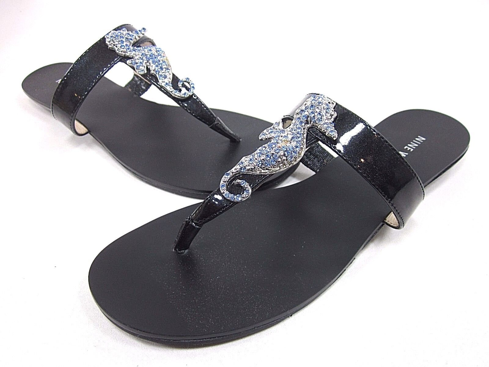 NINE WEST, WITS THONG SANDAL, WOMENS, BLACK, SYNTHETIC, US 7.5M, NEW WITHOUT BOX