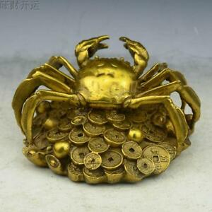 Chinese Fengshui Brass Copper Handwork carve Yuanbao Money Crab Crabs Statue