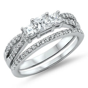 Details About 3 Princess Cut Cubic Zirconia Wedding Set 925 Sterling Silver Ring Sizes 4 12