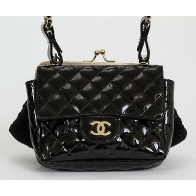 New CHANEL Patent Lace Mini Kiss Lock Flap Double Bag Black Quilted Lace WOC