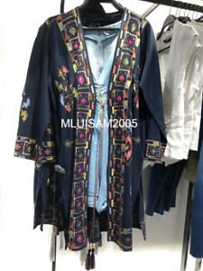 Ref Tied Blue 040 Bow Størrelse Zara 5598 Broderet hals V M Navy Kimono wq1UI1v