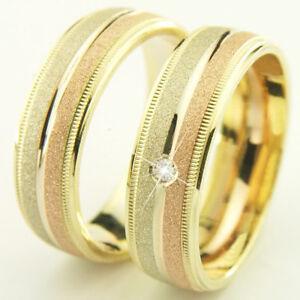 Hochzeitsringe-Trauringe-Eheringe-585-Gold-14-kt-Tricolor-Handarbeit-massiv-6-mm