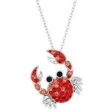 """Finecraft 'Crab Crystal Pendant Necklace' in Sterling Silver, 18"""""""