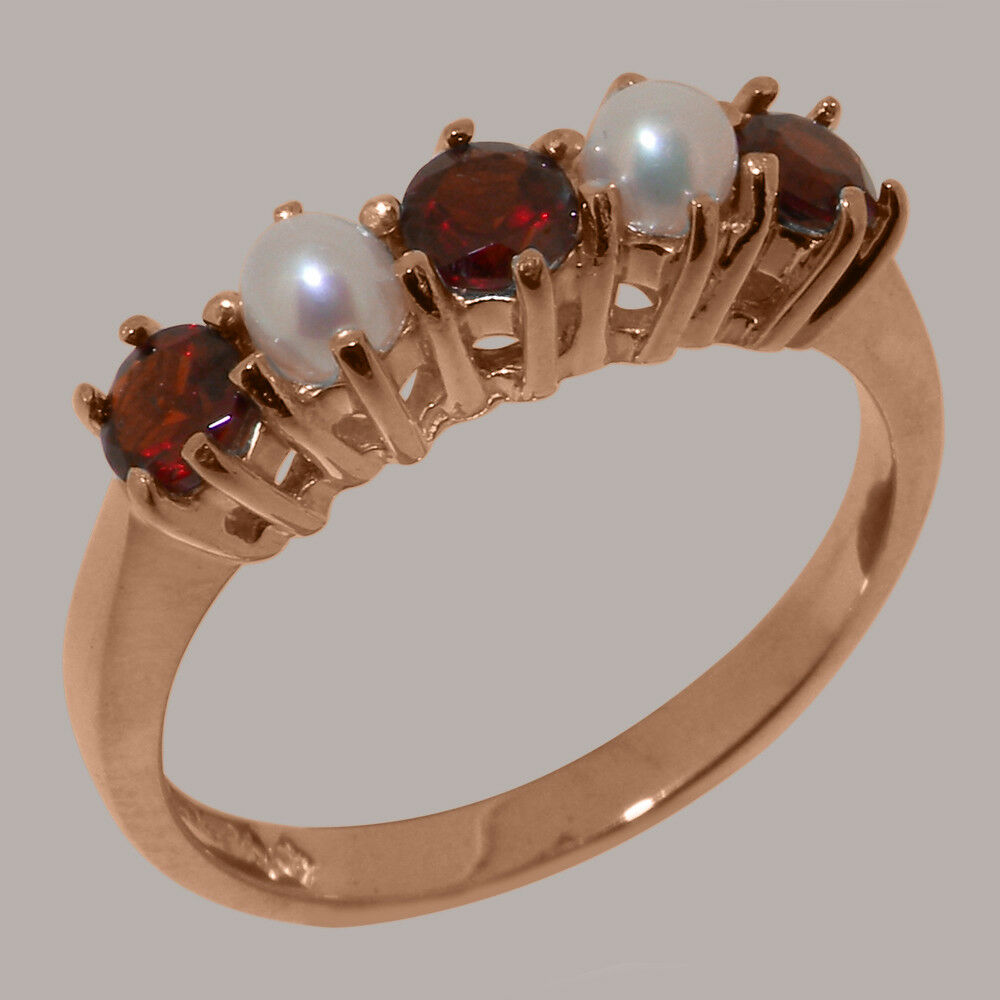 10k pink gold Natural Garnet & Pearl Womens Eternity Ring - Sizes 4 to 12