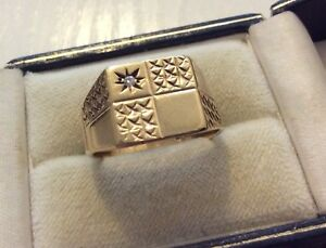 Good-Gents-Vintage-London-1972-Full-Hallmarked-Heavy-9CT-Diamond-Signet-Ring