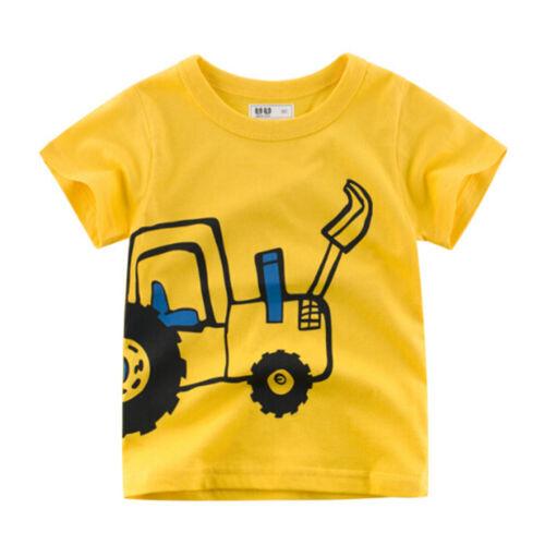 Boys T-shirt kid excavator baby boy children tops short sleeve boys clothing HU
