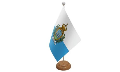 San Marino Table Desk Flag With Wooden Base