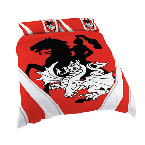 St George Illawarra Dragons NRL DOUBLE Bed Quilt Doona Duvet Cover Set NEW 2019