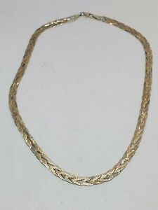 Vintage Tri-tone Braided Herringbone Chain Necklace 925 Sterling Nc 786 401744747463