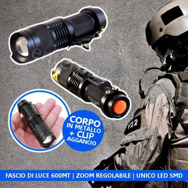 TORCIA CAMPEGGIO CAMPING LED 5000 LUMENS ZOOM SOS RICARICABILE CARICABATTERIA