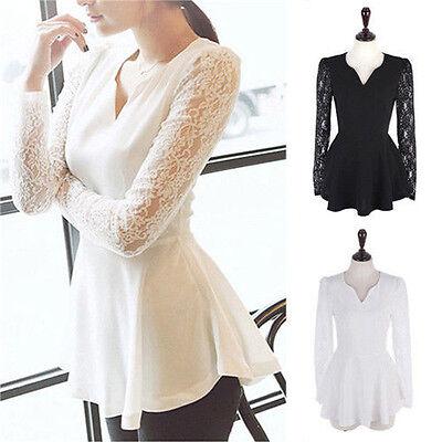 Fashion Women Ladies Lace Long Sleeve Shirt Top Summer Casual T-Shirt Blouse