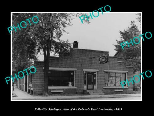 OLD 6 X 4 HISTORIC PHOTO OF BELLEVILLE MICHIGAN, FORD MOTORS DEALERSHIP c1935