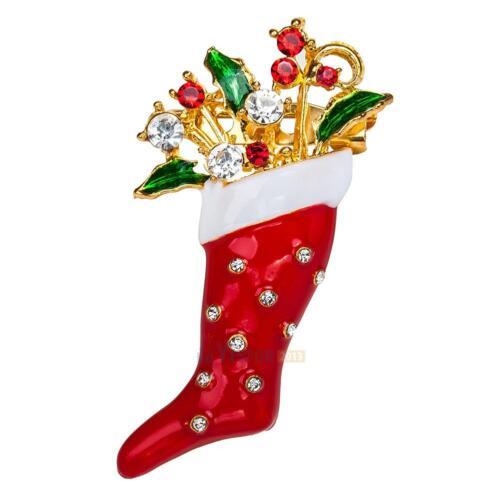 Vintage Gold Alloy Rhinestone Crystal Christmas Tree Deer Elk Snowman Brooch Pin
