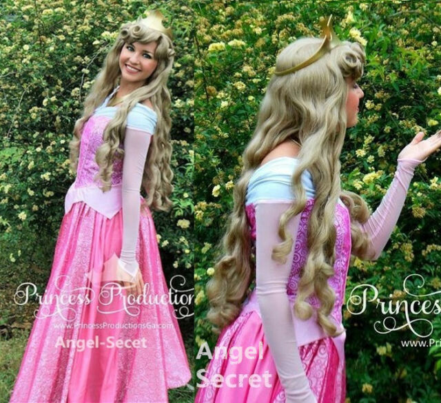 P140 COSPLAY Dress Princess sleeping beauty pink Costume Aurora women adult
