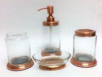 4 Pc Set Paradigm Clear Resin+rose Gold Copper Metal Dispenser+tumbler+dish+