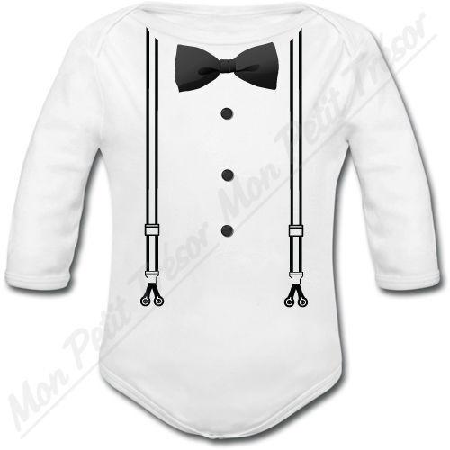 Body Bébé Chic Noeud Papillon Cravate cadeau naissance mariage garçon baptême