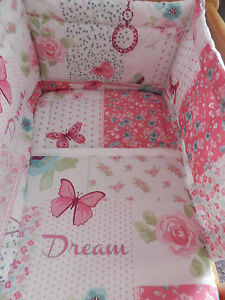 NEW-SHABBY-AND-CHIC-PATCHWORK-B-FLIES-FLOWERS-CRIB-COT-OR-COT-BED-BEDDING-SET