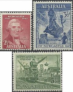 Australia-1947-NEWCASTLE-Set-3-Unhinged-Mint-SG-219-221