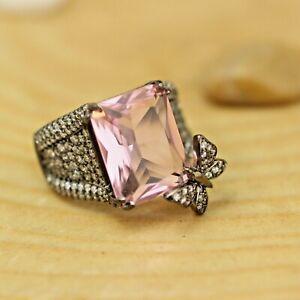 925-Sterling-Silver-Handmade-Antique-Turkish-Quartz-Ladies-Ring-Size-6-12