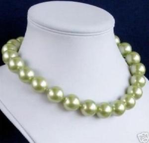 100/% Véritable 10 mm VERT South Sea Shell collier de perles 18/'/'AAA